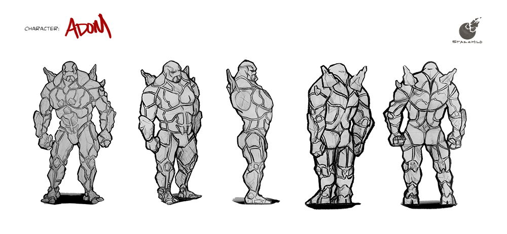 Character Design - Adom 5 Point Turnaround